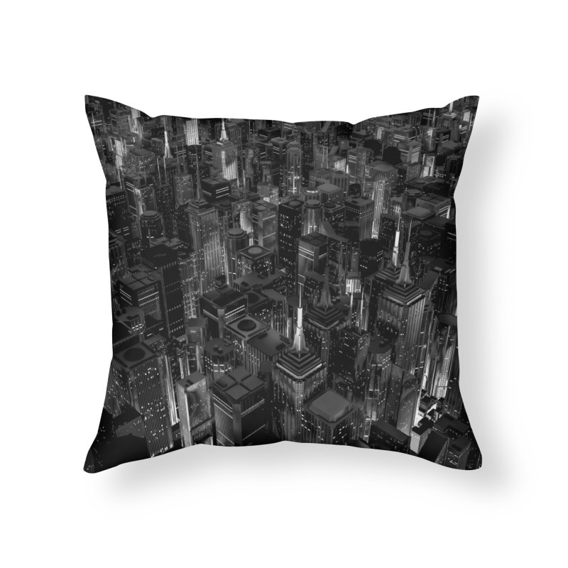 Night City Glow B&W Home Throw Pillow by Grandio Design Artist Shop