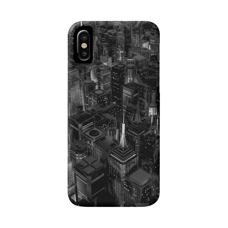Night City Glow B&W Accessories Phone Case by Grandio Design Artist Shop