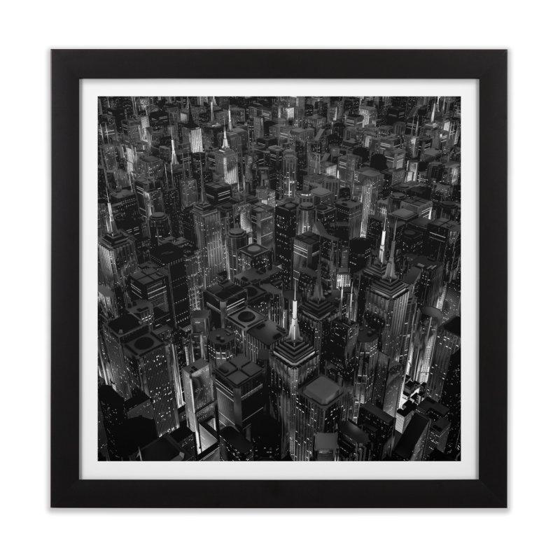 Night City Glow B&W Home Framed Fine Art Print by Grandio Design Artist Shop