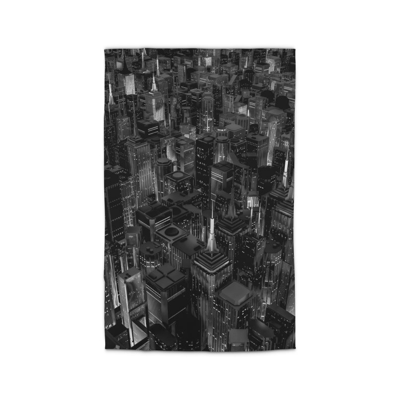 Night City Glow B&W Home Rug by Grandio Design Artist Shop