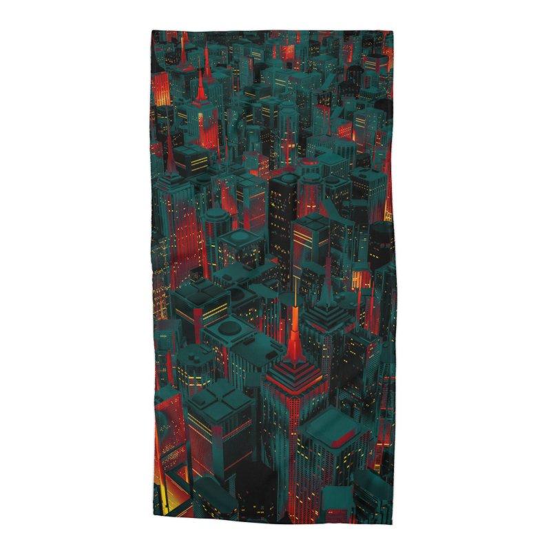 Night City Glow Cartoon Accessories Beach Towel by Grandio Design Artist Shop