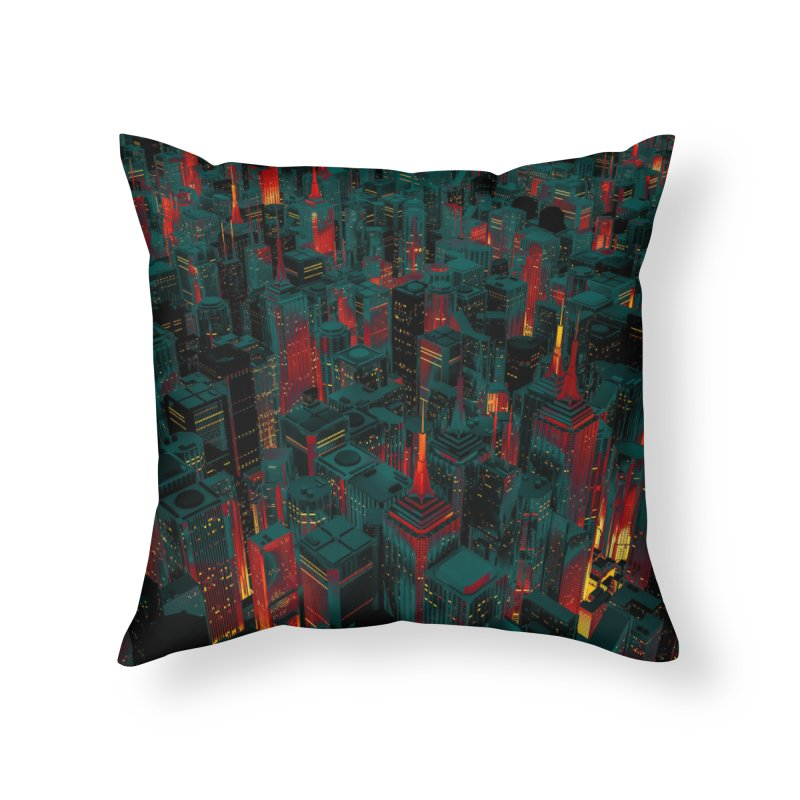 Night City Glow Cartoon Home Throw Pillow by Grandio Design Artist Shop