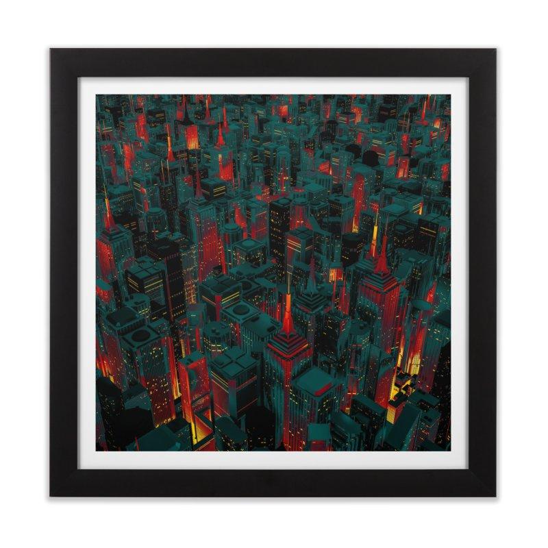 Night City Glow Cartoon Home Framed Fine Art Print by Grandio Design Artist Shop