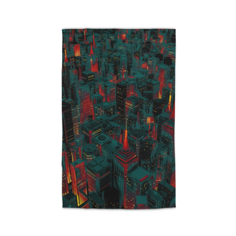 Night City Glow Cartoon Home Rug by Grandio Design Artist Shop