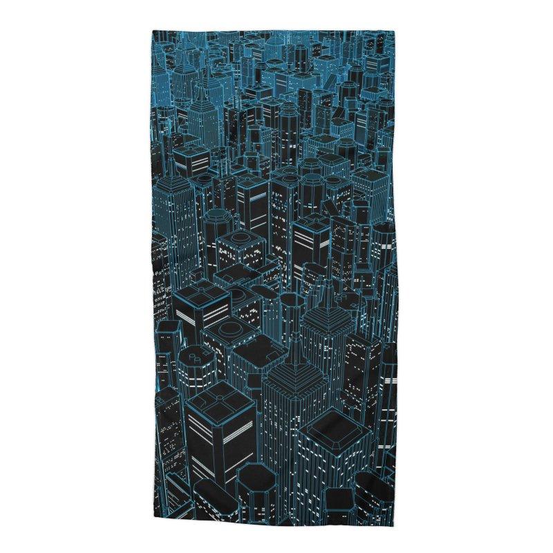 Night Light City Accessories Beach Towel by Grandio Design Artist Shop