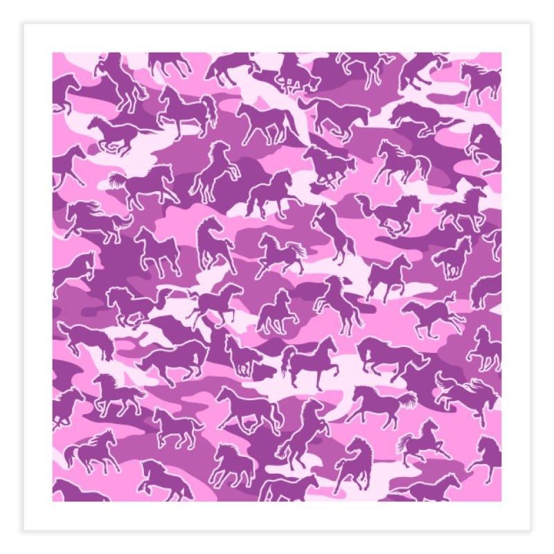 Horse Camo PINK Home Fine Art Print by Grandio Design Artist Shop