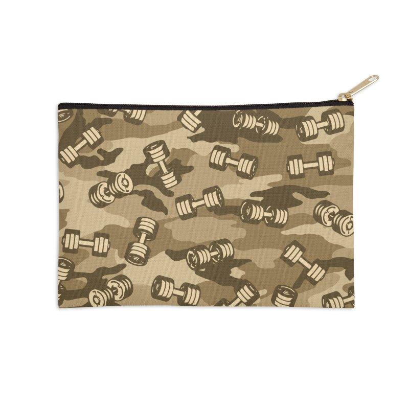 Dumbbell Gym Camo DESERT Accessories Zip Pouch by Grandio Design Artist Shop