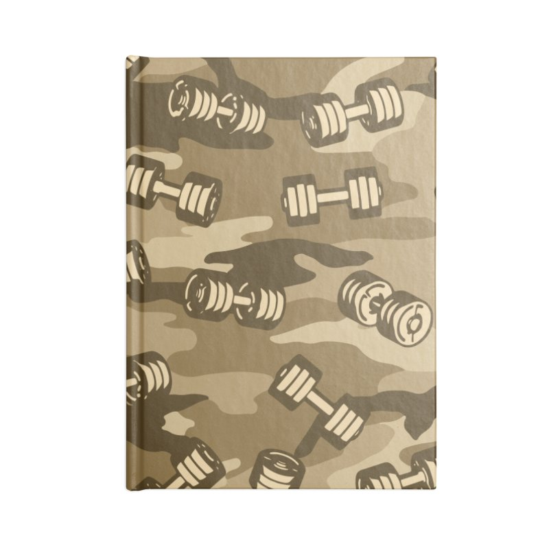 Dumbbell Gym Camo DESERT Accessories Blank Journal Notebook by Grandio Design Artist Shop