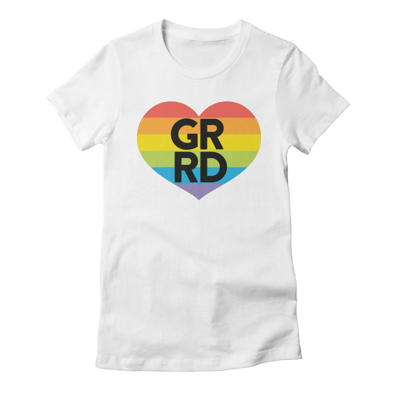 GRRD Pride in Women's Fitted T-Shirt White by Grand Raggidy Roller Derby