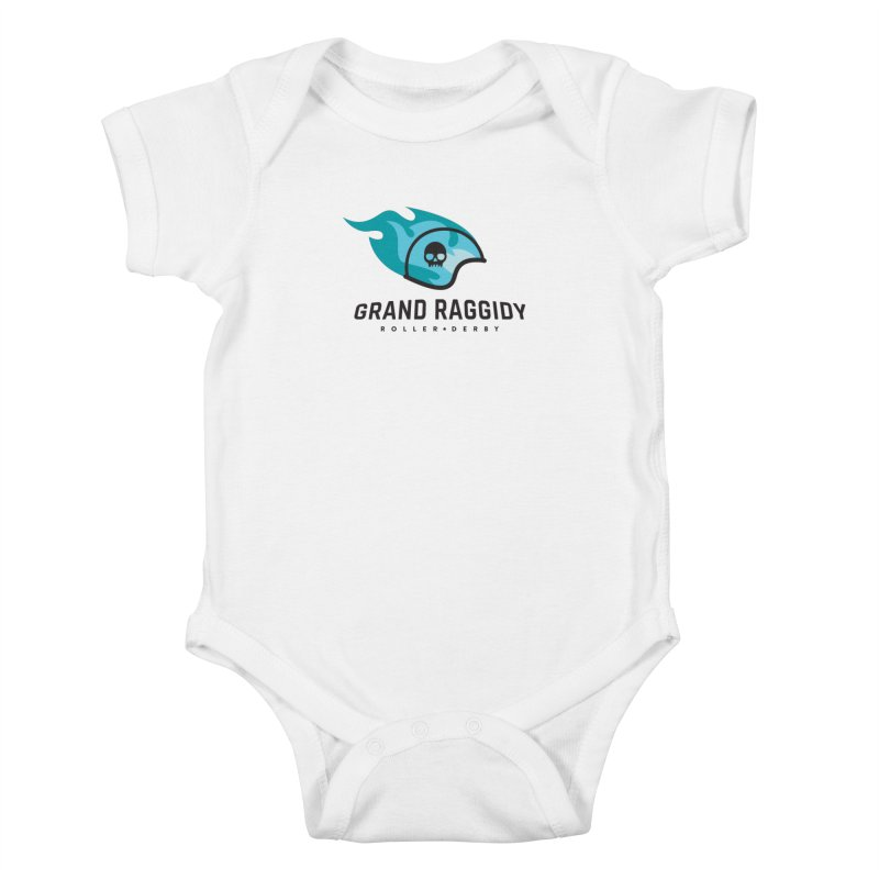 Flame Logo Kids Baby Bodysuit by Grand Raggidy Roller Derby