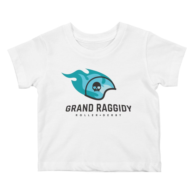Flame Logo Kids Baby T-Shirt by Grand Raggidy Roller Derby