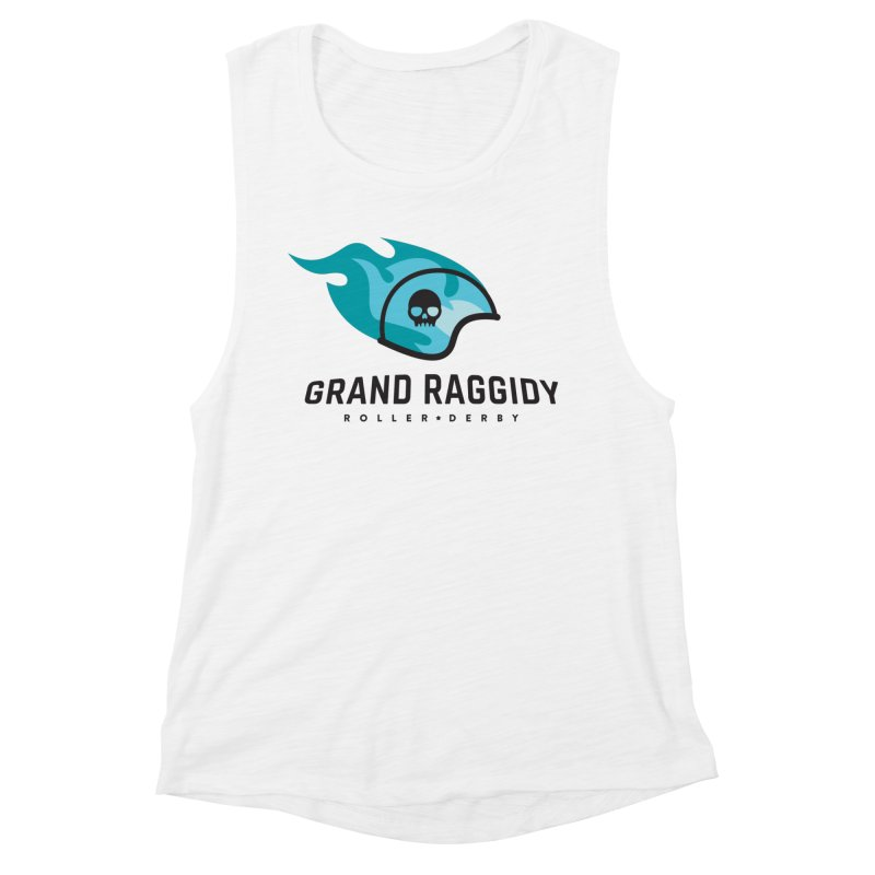 Flame Logo in Women's Muscle Tank White by Grand Raggidy Roller Derby
