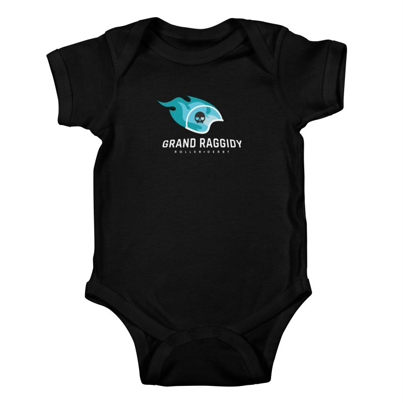 Flame Logo - Reverse Kids Baby Bodysuit by Grand Raggidy Roller Derby
