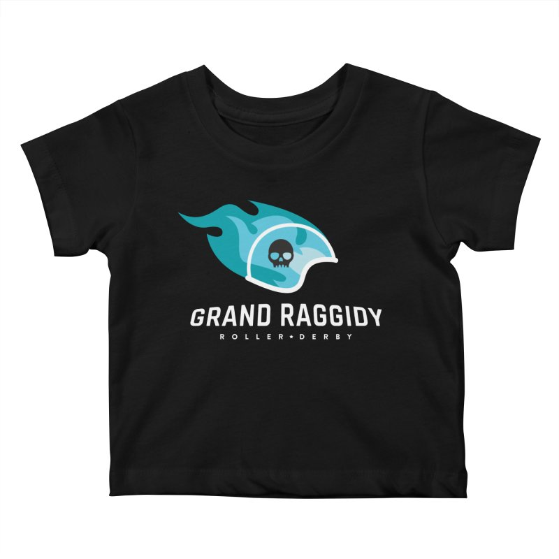 Flame Logo - Reverse Kids Baby T-Shirt by Grand Raggidy Roller Derby