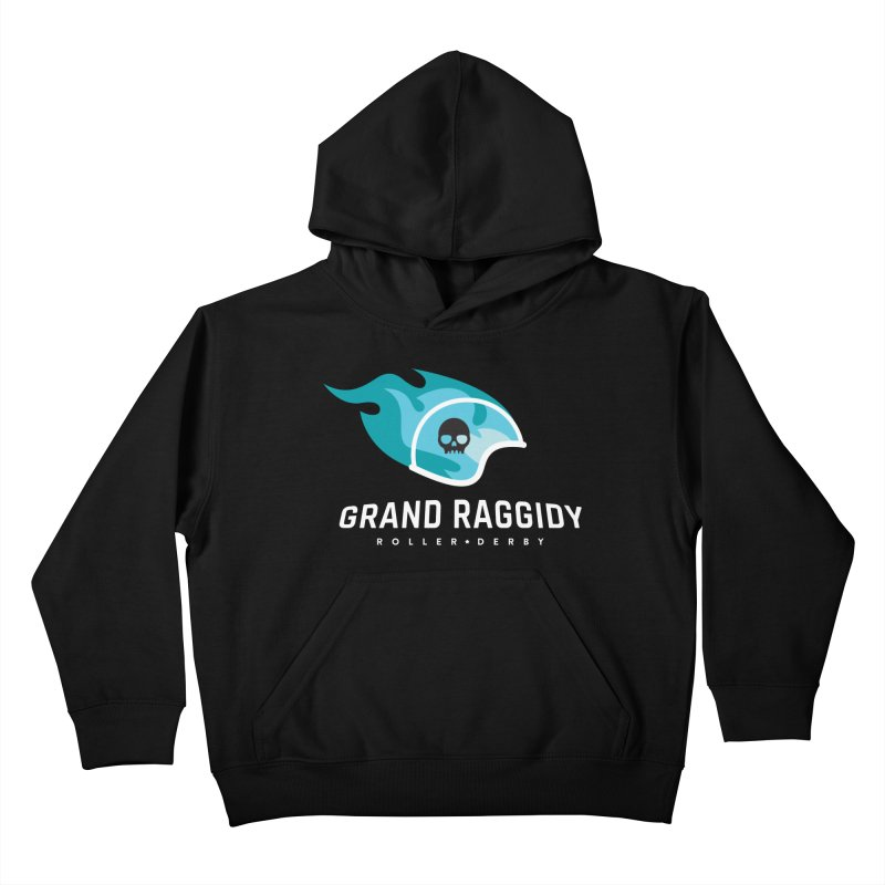 Flame Logo - Reverse Kids Pullover Hoody by Grand Raggidy Roller Derby