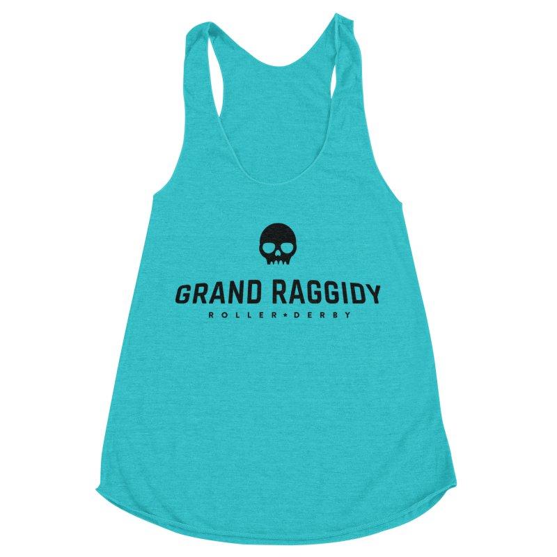 Skull Logo in Women's Racerback Triblend Tank Pacific Blue by Grand Raggidy Roller Derby