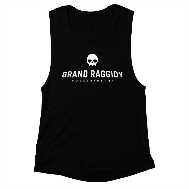 Skull Logo - Reverse Women's Muscle Tank by Grand Raggidy Roller Derby