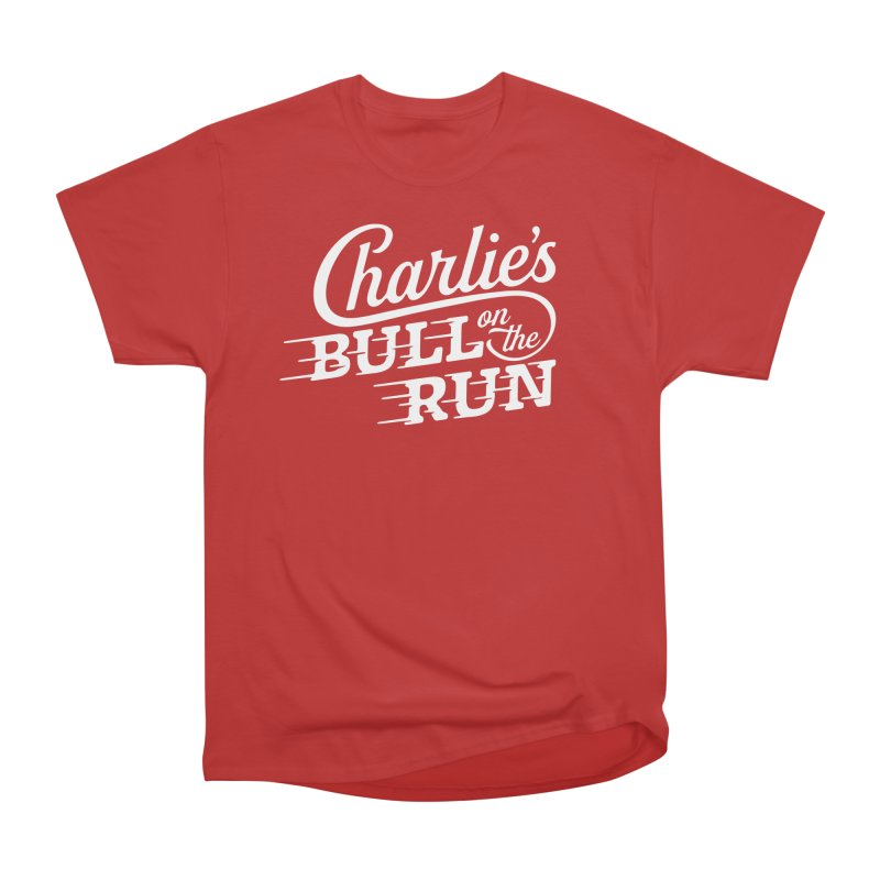 Charlie's Bull on the Run - White Women's Heavyweight Unisex T-Shirt by The Artist Shop of graphicdesign79