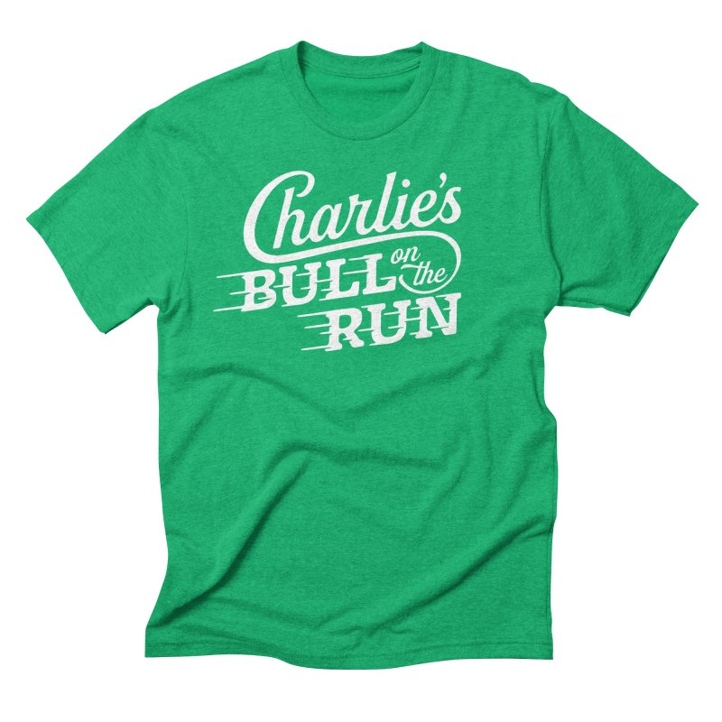 Charlie's Bull on the Run - White Men's Triblend T-shirt by The Artist Shop of graphicdesign79