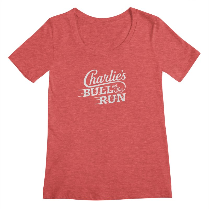 Charlie's Bull on the Run - White Women's Scoopneck by The Artist Shop of graphicdesign79