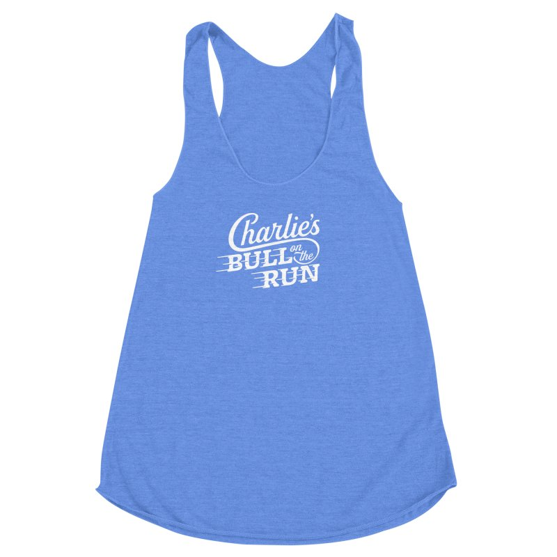 Charlie's Bull on the Run - White Women's Racerback Triblend Tank by The Artist Shop of graphicdesign79