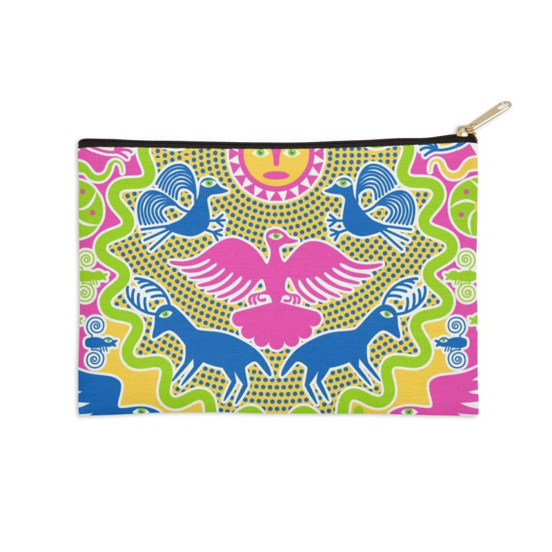 Animals & Sun God Accessories Zip Pouch by Grasshopper Hill's Artist Shop
