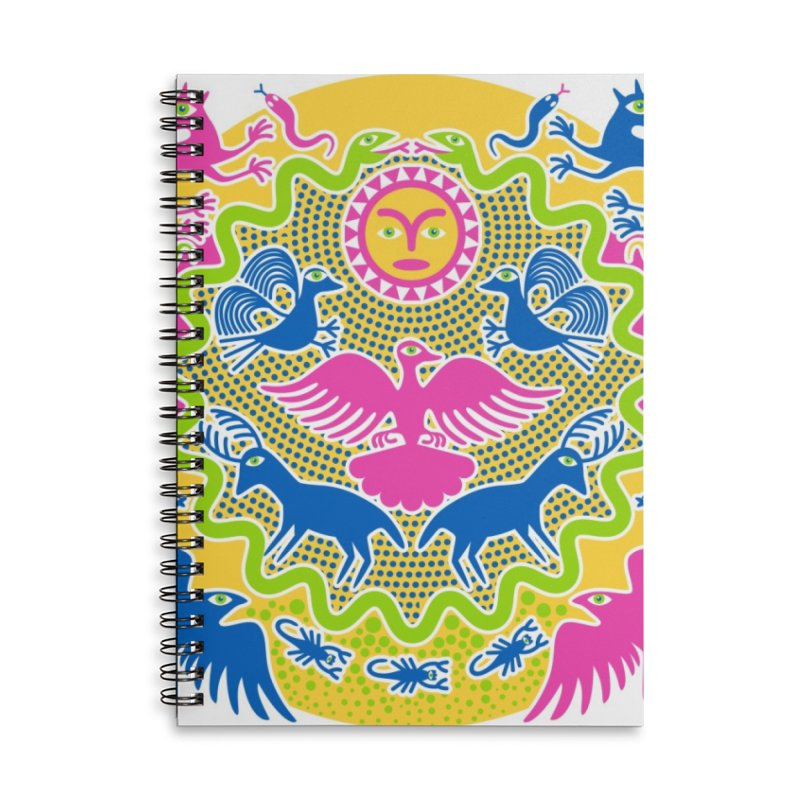 Animals & Sun God Accessories Lined Spiral Notebook by Grasshopper Hill's Artist Shop