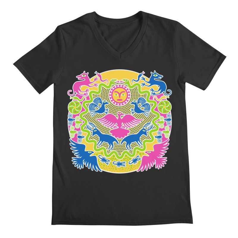 Animals & Sun God Men's Regular V-Neck by Grasshopper Hill's Artist Shop