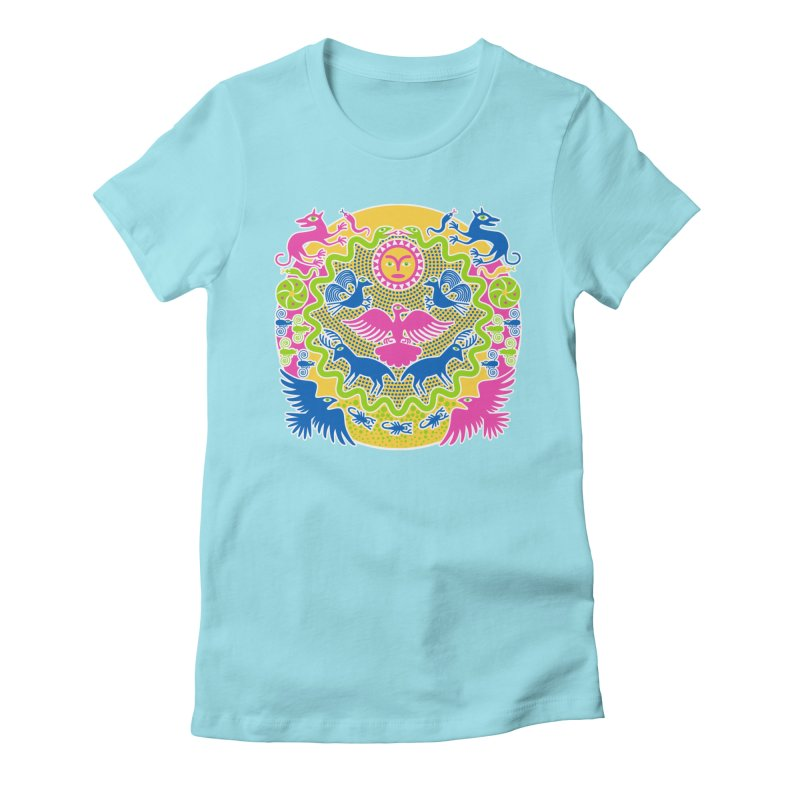 Animals & Sun God Women's Fitted T-Shirt by Grasshopper Hill's Artist Shop