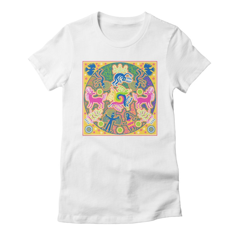 Creation of Peyote & Corn Women's Fitted T-Shirt by Grasshopper Hill's Artist Shop