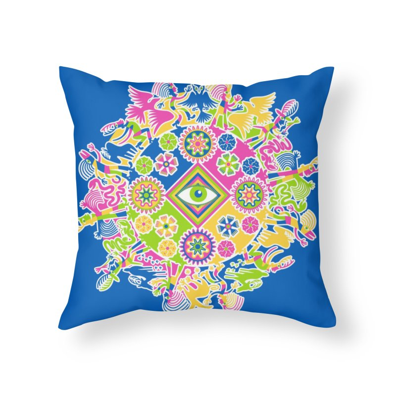 Vision Quest - blue Home Throw Pillow by Grasshopper Hill's Artist Shop