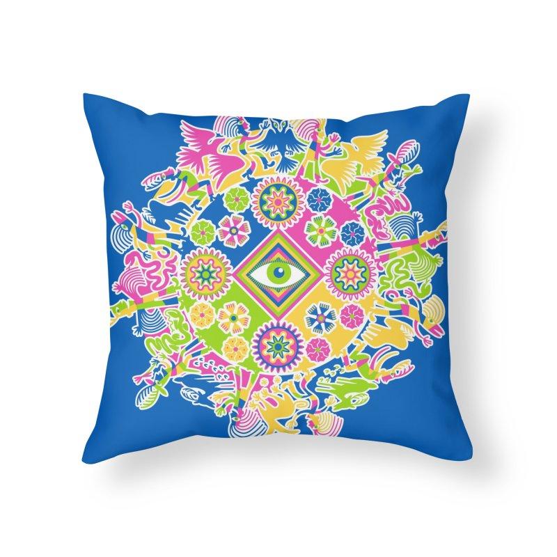 Vision Quest - blue Home Throw Pillow by Grasshopper Hill's Artist Shop