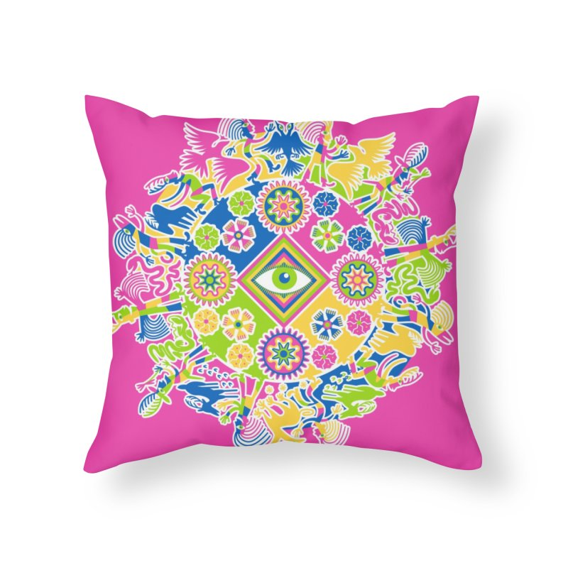 Vision Quest - pink Home Throw Pillow by Grasshopper Hill's Artist Shop