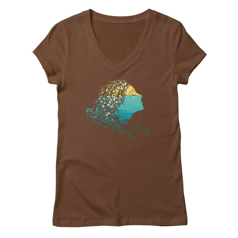 An Island Unto Herself Women's Regular V-Neck by grayehound