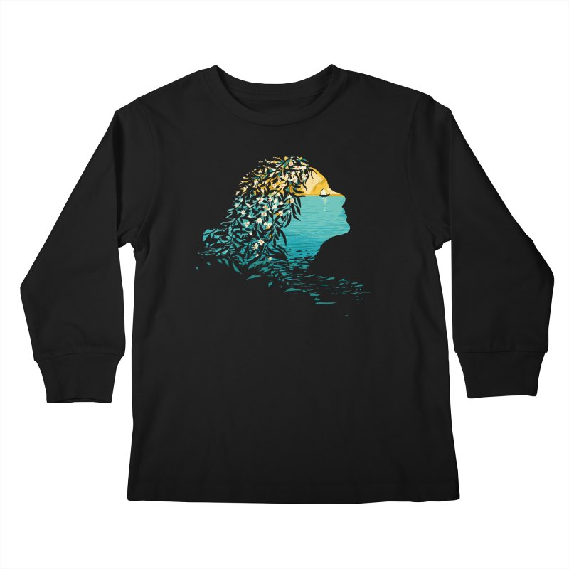 An Island Unto Herself Kids Longsleeve T-Shirt by grayehound