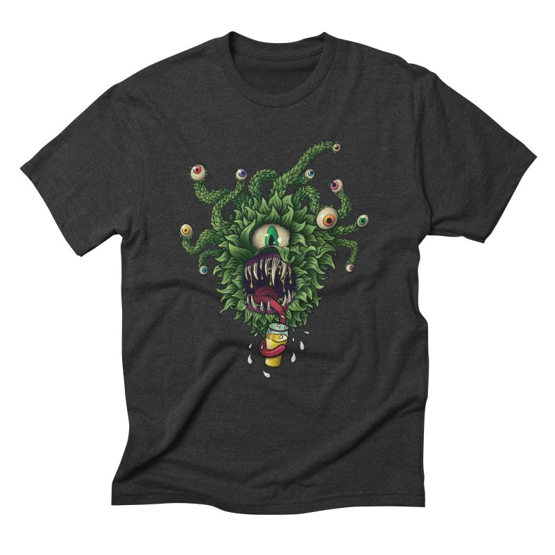 Hoppy Beholder Holding A Beer in Men's Triblend T-Shirt Heather Onyx by Great Raven Design Co's Artist Shop