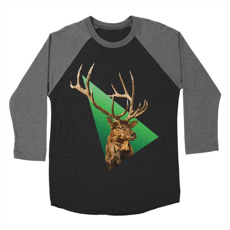 Low Poly Elk in Men's Baseball Triblend Longsleeve T-Shirt Grey Triblend Sleeves by Great Raven Design Co's Artist Shop