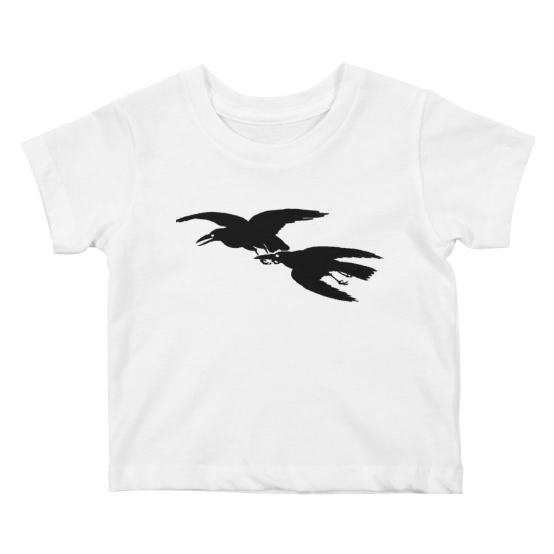 Flying Crows Kids Baby T-Shirt by Green Grackle Studio
