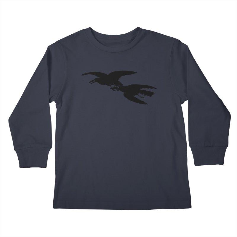Flying Crows Kids Longsleeve T-Shirt by Green Grackle Studio