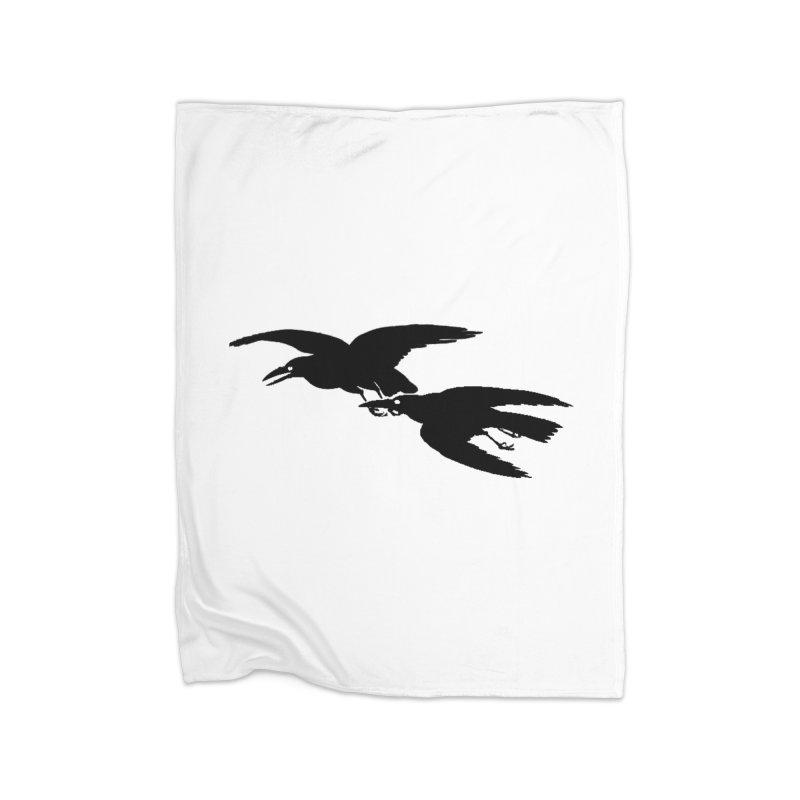Flying Crows Home Blanket by Green Grackle Studio