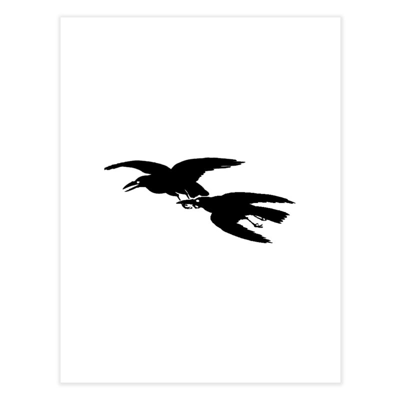 Flying Crows Home Fine Art Print by Green Grackle Studio