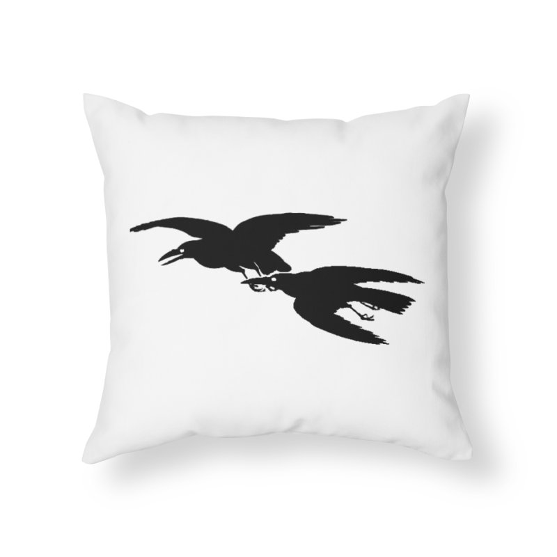 Flying Crows Home Throw Pillow by Green Grackle Studio