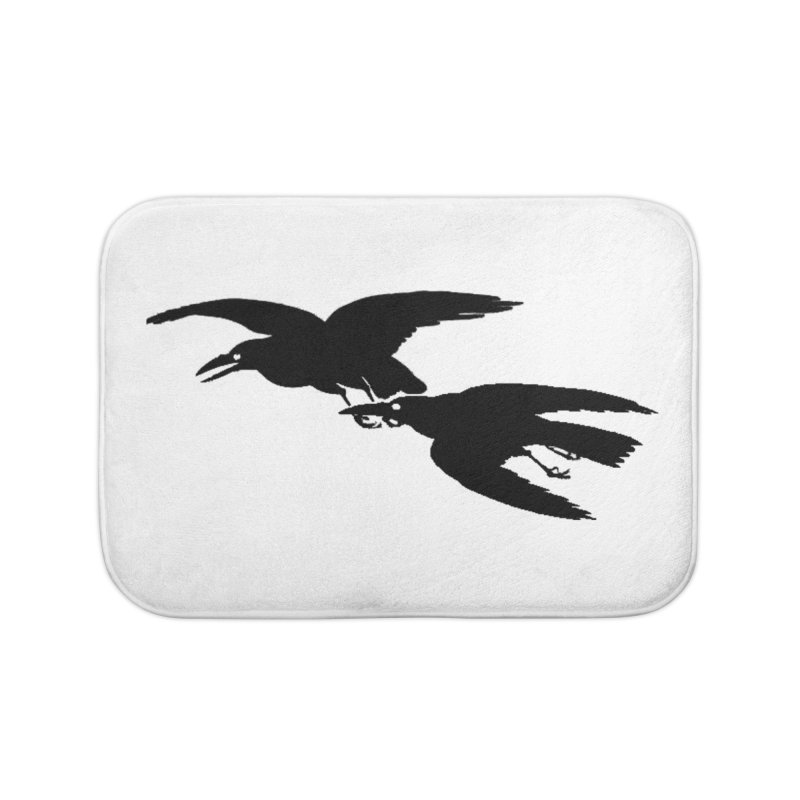 Flying Crows Home Bath Mat by Green Grackle Studio