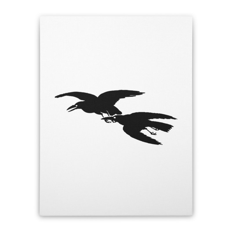 Flying Crows Home Stretched Canvas by Green Grackle Studio