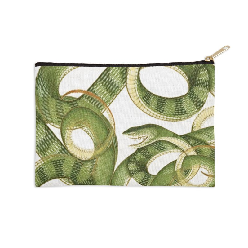 Green Snake Tangle Accessories Zip Pouch by Green Grackle Studio