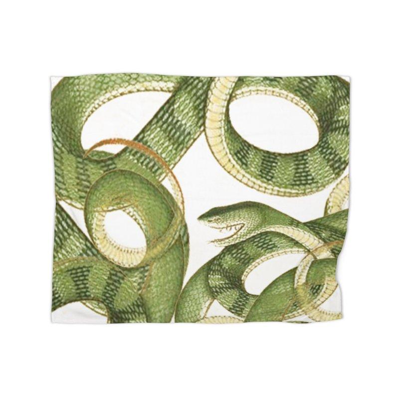 Green Snake Tangle Home Blanket by Green Grackle Studio