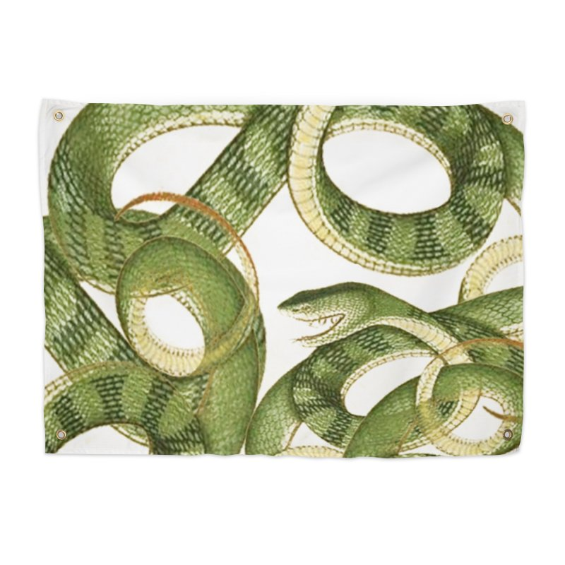 Green Snake Tangle Home Tapestry by Green Grackle Studio