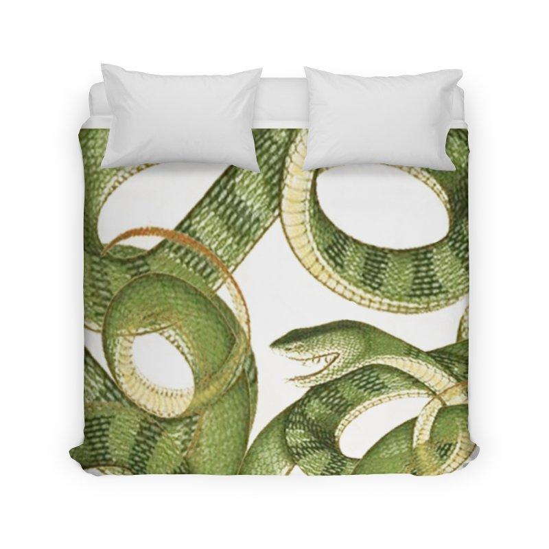 Green Snake Tangle Home Duvet by Green Grackle Studio