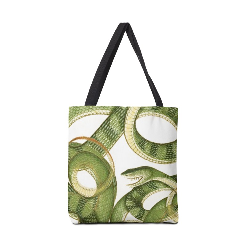 Green Snake Tangle Accessories Tote Bag Bag by Green Grackle Studio
