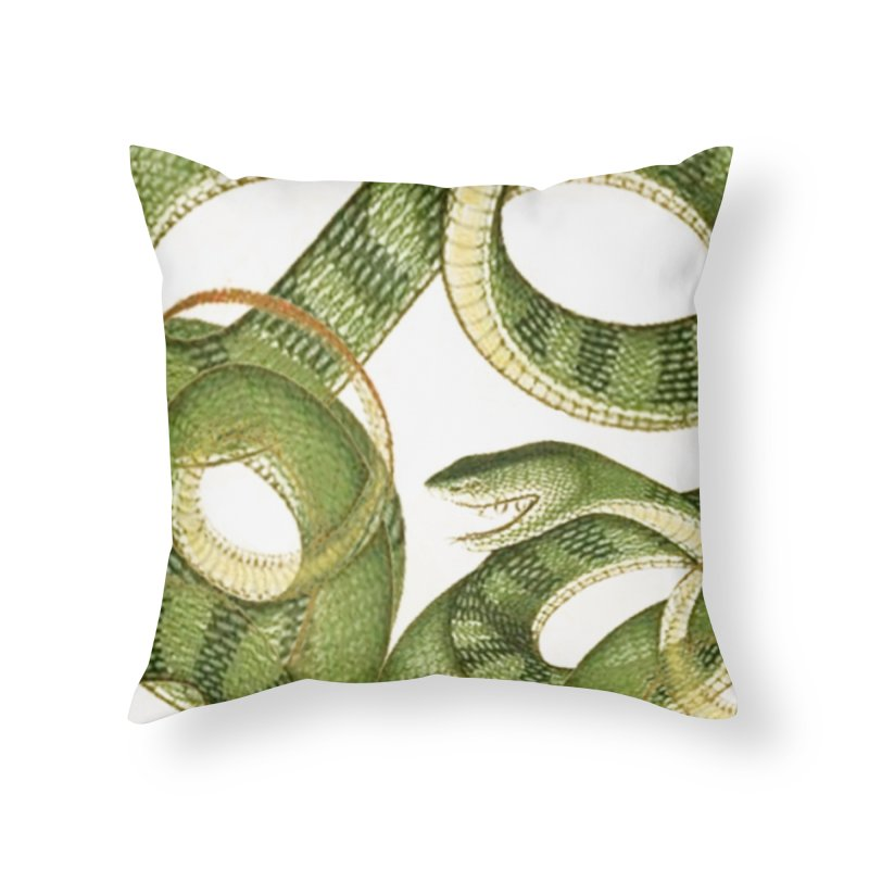 Green Snake Tangle Home Throw Pillow by Green Grackle Studio